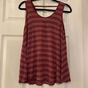 Olive and oak Red and white striped tank top